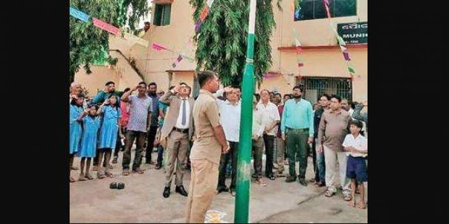 Sweeper Bangari Rabi at the Independence Day celebrations in Gunupur Municipality office