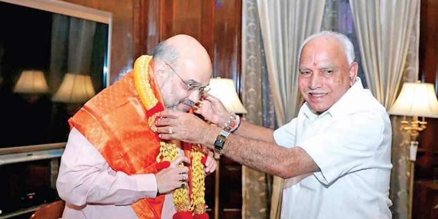Home Minister Amit Shah with Karnataka CM BS Yediyurappa