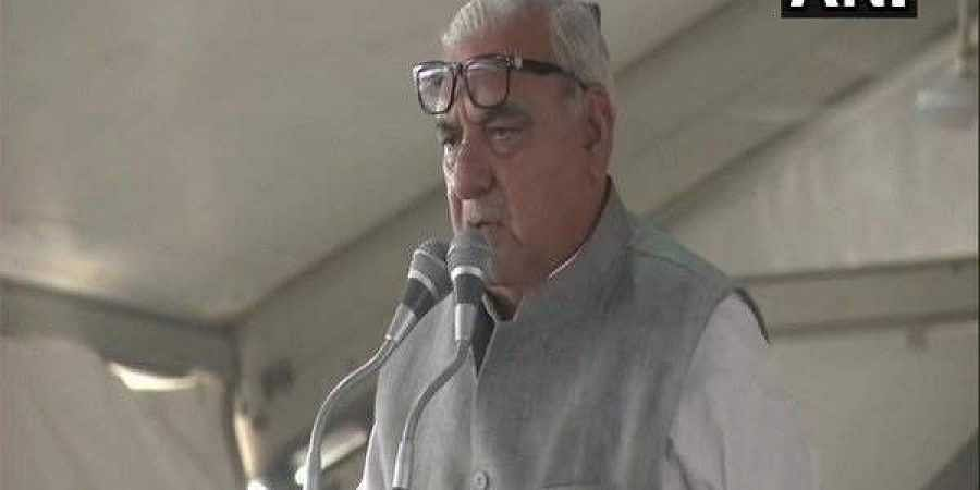 Former Haryana Chief Minister Bhupinder Singh Hooda addressing the Parivartan Maha Rally in Rohtak on Sunday.