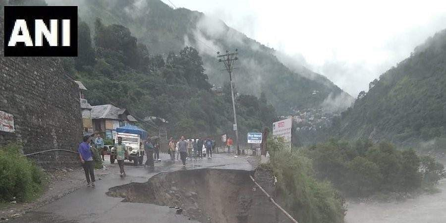 Movement of vehicular traffic has stopped near Chamba bus stand after a portion of the road was damaged due to continuous rainfall.