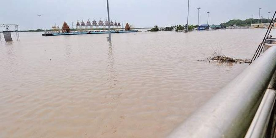 Ferry at Ibrahimpatnam near Vijayawada gets flooded on Saturday due to heavy inflows from Pulichintala project