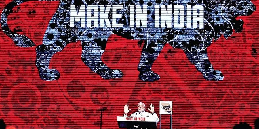 A file photo of Prime Minister Narendra Modi during the launch of the Make in India Week in Mumbai
