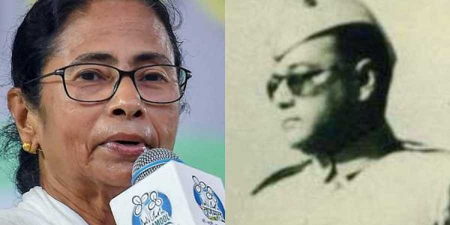 West Bengal CM Mamata Banerjee (L) and Netaji Subhash Chandra Bose