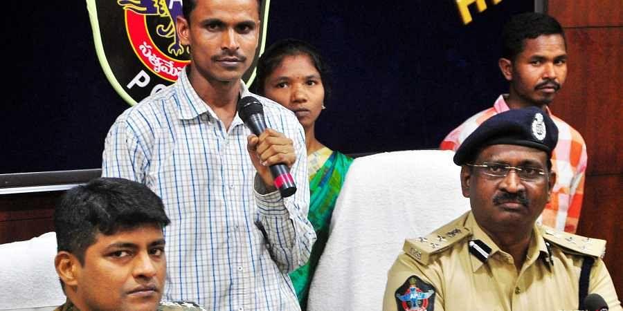DCM cadre Mmaoist member Bonda Anjayya alias Naveen of Tirumalagiri village, Nalgonda district in Telangana state, after surrendering at the SP office in Visakhapatnam on Saturday