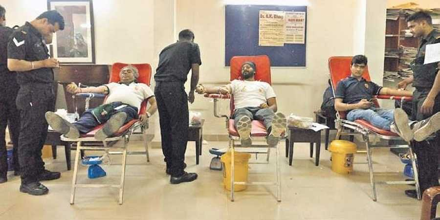 A blood donation drive organised by Vivek Mehra's NGO I Am Still Human