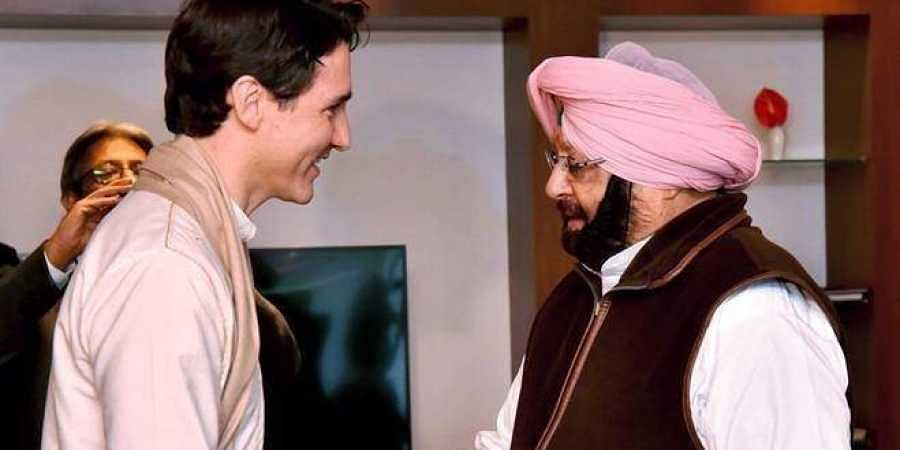 Canadian Prime Minister Justin Trudeau meets with Punjam CM Amarinder Singh during a meeting in Amritsar in February, 2018.
