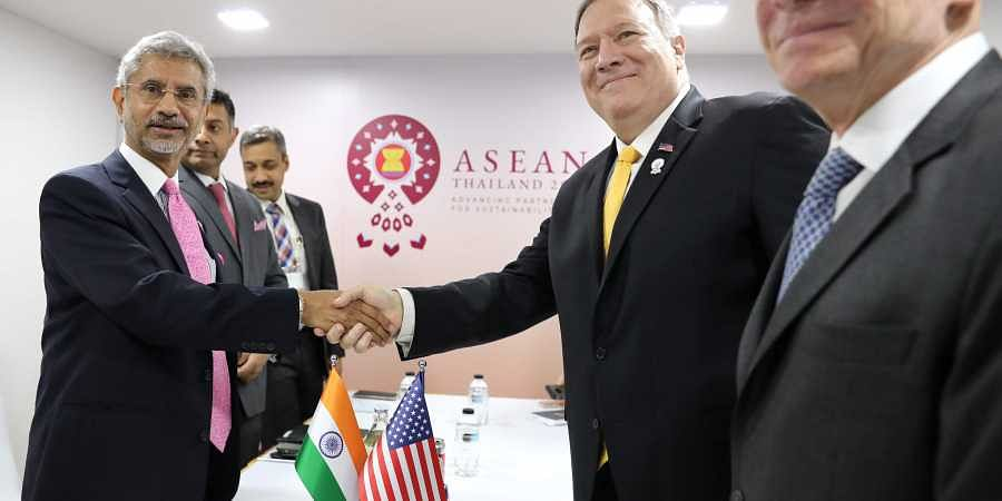 India's Foreign Minister Subrahmanyam Jaishankar (left) meets with US Secretary of State Mike Pompeo, (center left) on the sidelines of the ASEAN Foreign Ministers' Meeting in Bangkok, Thailand, Friday, Aug. 2, 2019.