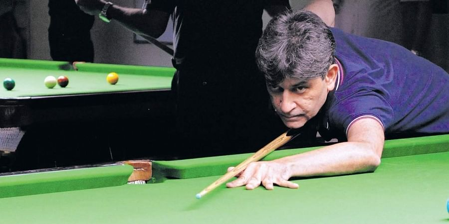 Geet Sethi in action during the Masters National Snooker Championship in Mumbai.