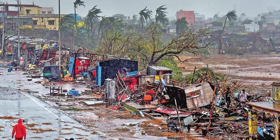 Damage caused by cyclone Fani after it made landfall near Puri in Odisha.