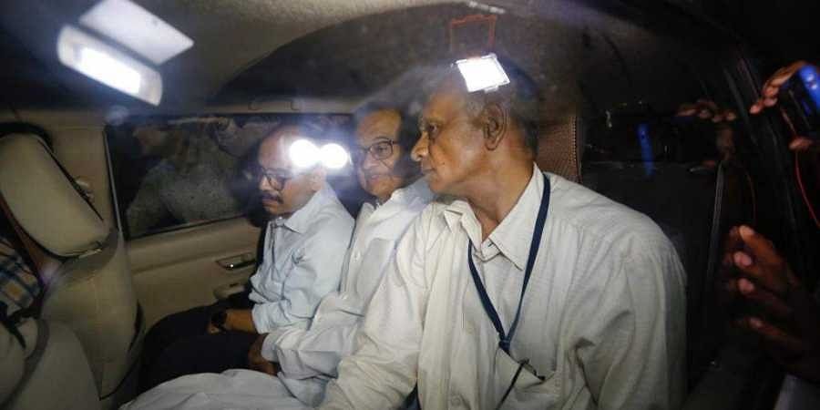 P Chidambaram being taken away in a car by CBI officials. (Photo| Arun Thakur/ EPS)