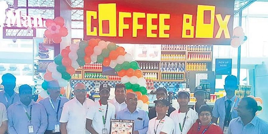 The coffee shop set up at Chennai International Airport; Named 'Coffee Box', the shop is managed by speech and hearing impaired individuals