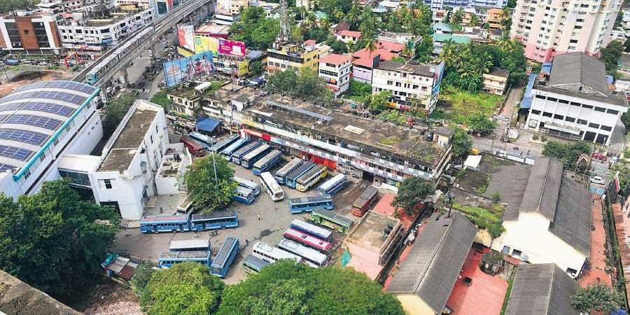 An aerial view of Kaloor private bus stand