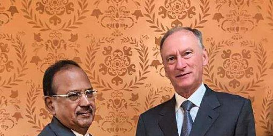 National Security Advisor Ajit Doval shakes hands with Nikolai Patrushev Secretary of the Russian National Security Council during a meeting. (Photo | PTI)