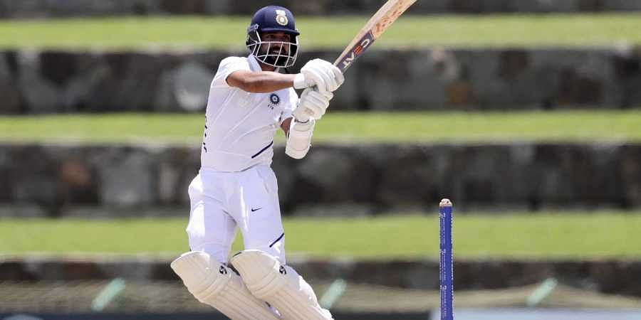 Ajinkya Rahane plays a shot against West Indies during day one of the first Test cricket match. (Photo | AP)