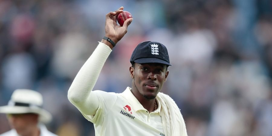 England's Jofra Archer celebrates after taking six wickets on the first day of the 3rd Ashes Test. (Photo | AP)