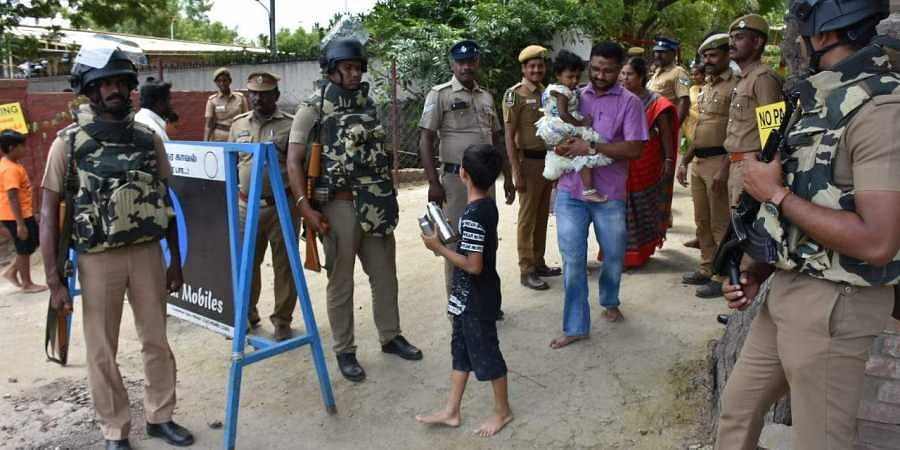 Police stationed outside Iskcon temple in Coimbatore following a high alert in the state.