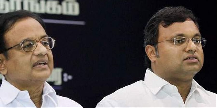 Former Union Minister P Chidambaram and his son Karti Chidambaram