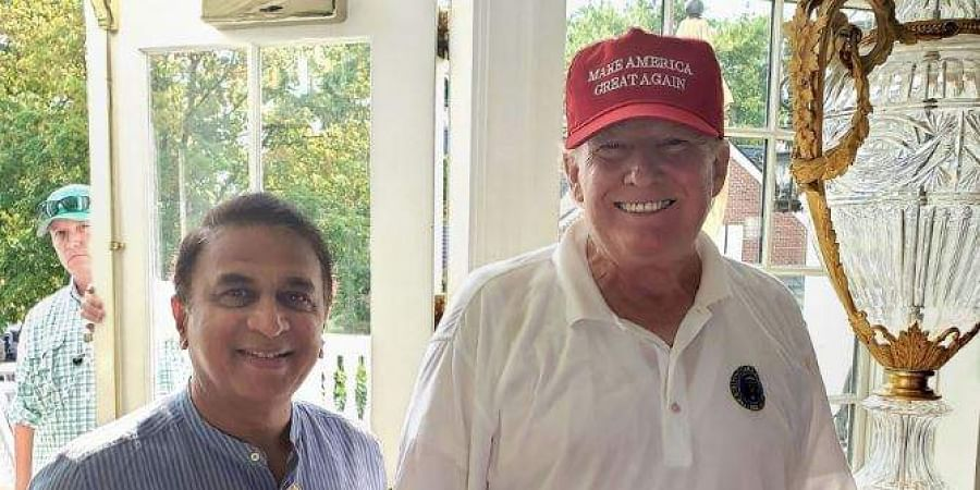 Former cricketer Sunil Gavaskar with President Donald Trump at the Trump Bedminster Golf Course in New York. (Photo   PTI)