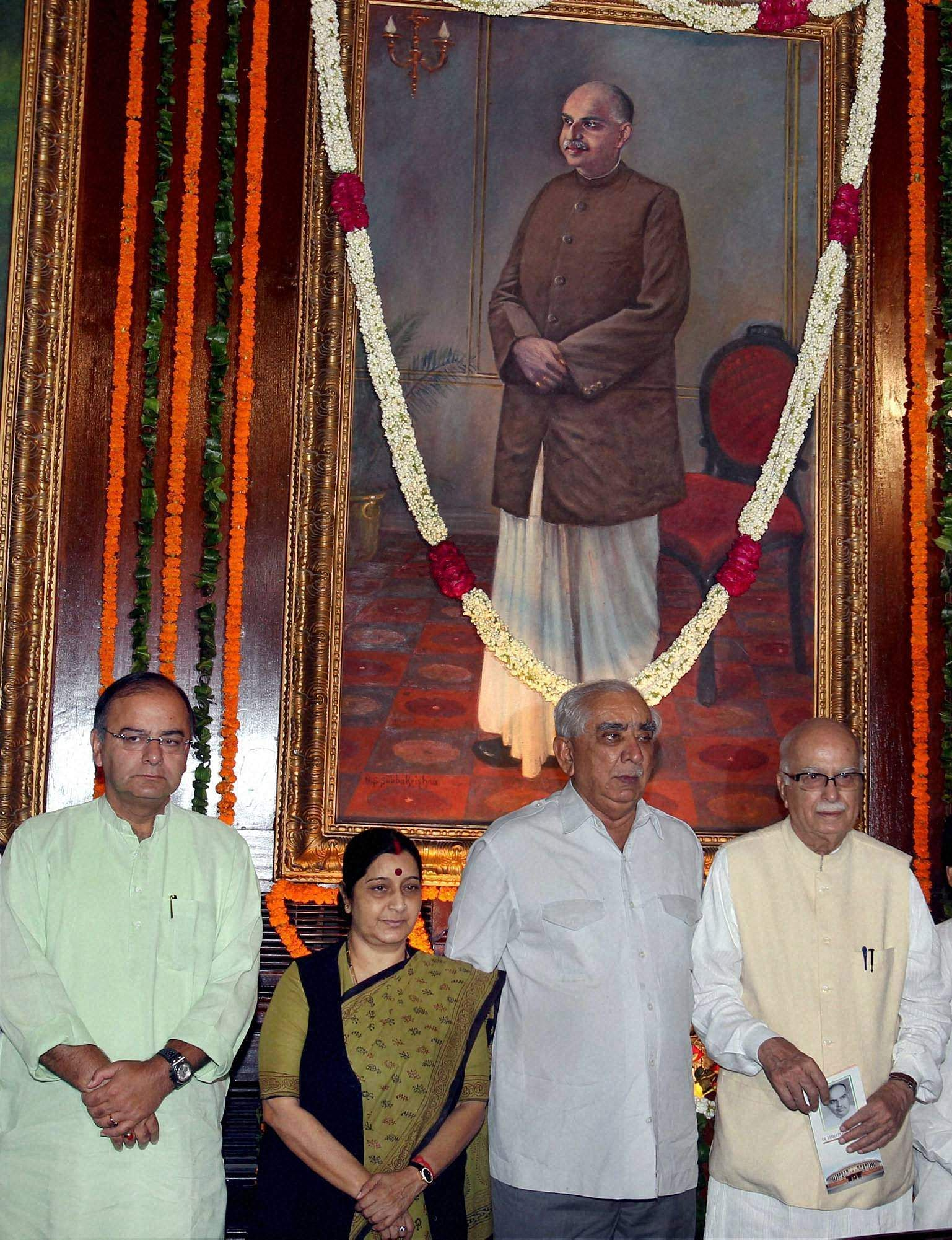 Senior BJP leaders L K Advani, Jaswant Singh, Sushma Swaraj and Arun Jaitley (extreme left) at a function to celebrate the birth anniversary of Shyama Prasad Mukherjee at  Parliament house in New Delhi (Photo| PTI)