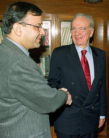 Media tycoon Rupert Murdoch (R) is greeted by Indian Minister of Information and Broadcasting Arun Jaitley prior to a talks in New Delhi.  Murdoch pushed his plans for direct-to-home satellite broadcasting in India. (Photo| PTI)