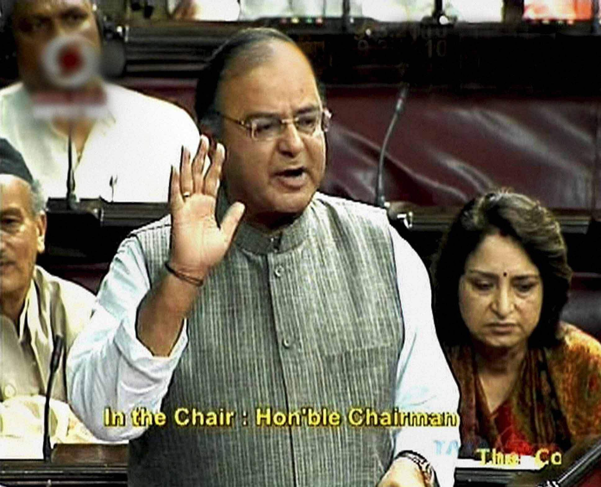 Leader of Opposition in the Rajya Sabha Arun Jaitley speaks in the House in New Delhi. (Photo| PTI)