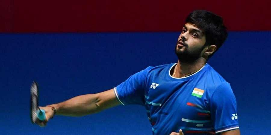Sai Praneeth B. of India hits a return during his men's singles semi-final match against Kento Momota of Japan at the Japan Open badminton tournament, a test event ahead of the Tokyo 2020 Olympic Games, in Tokyo. (Photo | AFP)