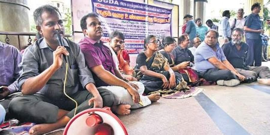 Members of the Federation of Government Doctors Associations during the protest at the Rajiv Gandhi General Hospital