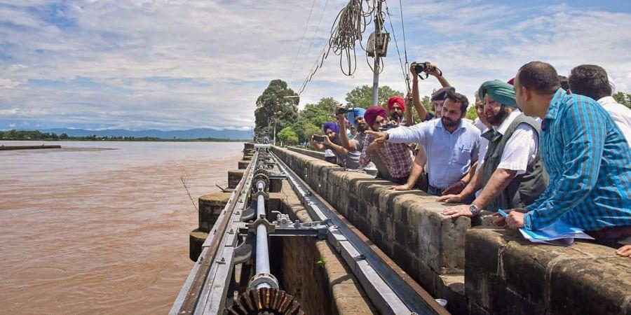 Punjab CM Amarinder Singh surveys flood-hit regions of Rupnagar district.