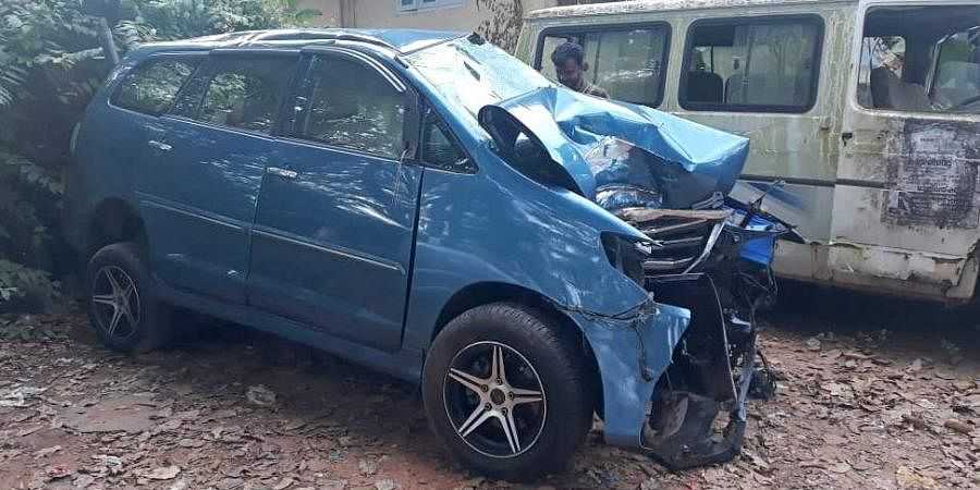 Mangled remains of musician Balabhaskar's car that met with an accident near Pallippuram in Thiruvananthapuram.