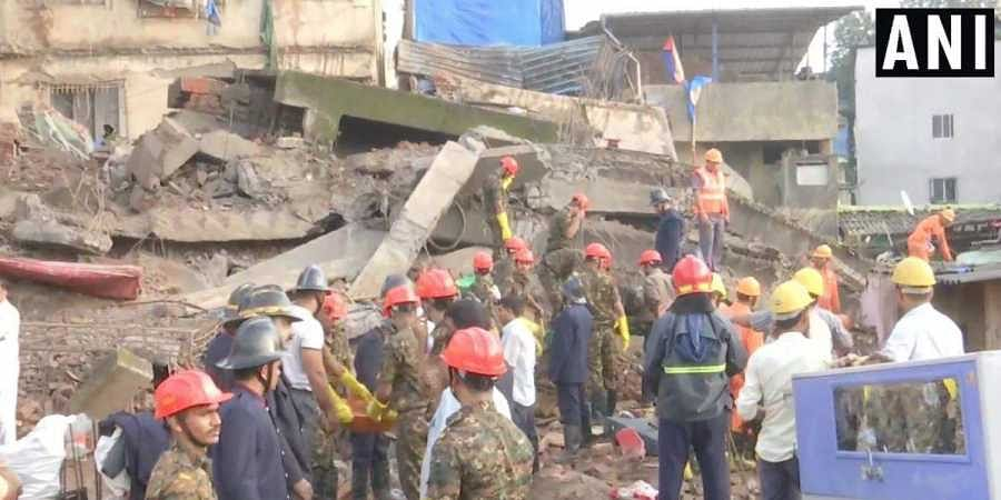 Rescue operations continue at the building collapse site in Bhiwandi.