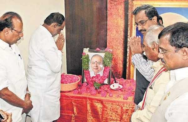 BJP leaders K Laxman, Ram Madhav, Bandaru Dattatreya offer tributes to Jaitley at the party office In Hyderabad | Express