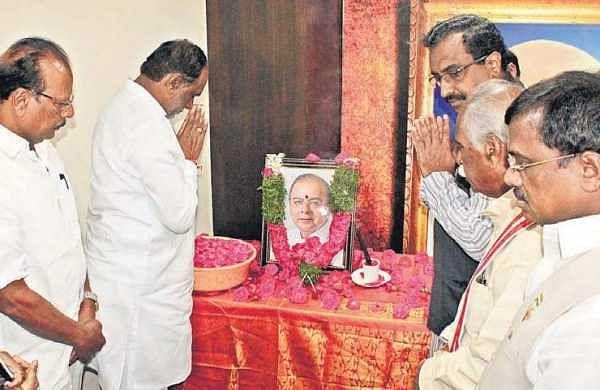 BJP leaders K Laxman, Ram Madhav, Bandaru Dattatreya offer tributes to Jaitley at the party office In Hyderabad | Express