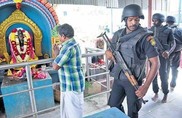 Police commandos at Kovai's Ukkadam Lakshmi Narasimhar Temple | A Raja Chidambaram