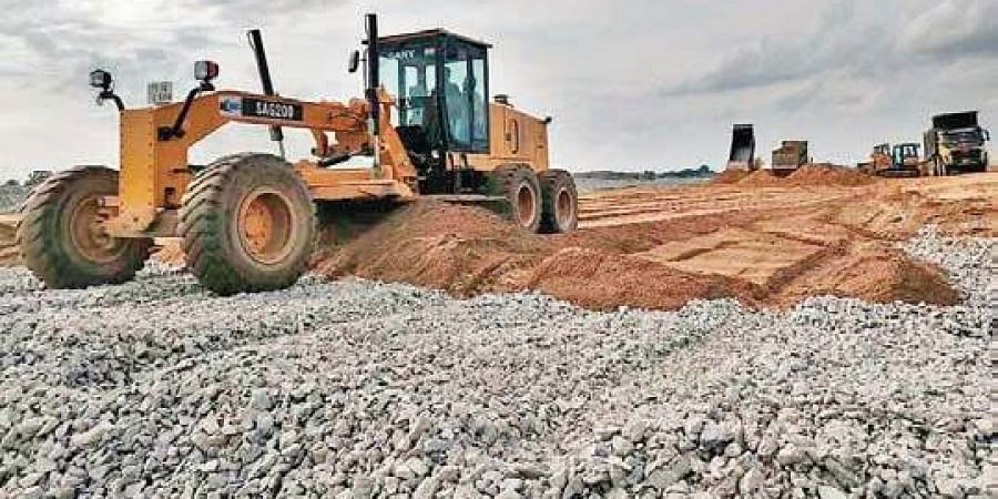 Construction works continue at the Mallanna Sagar site on Saturday, in spite of  High Court directions to stop the works till August 30
