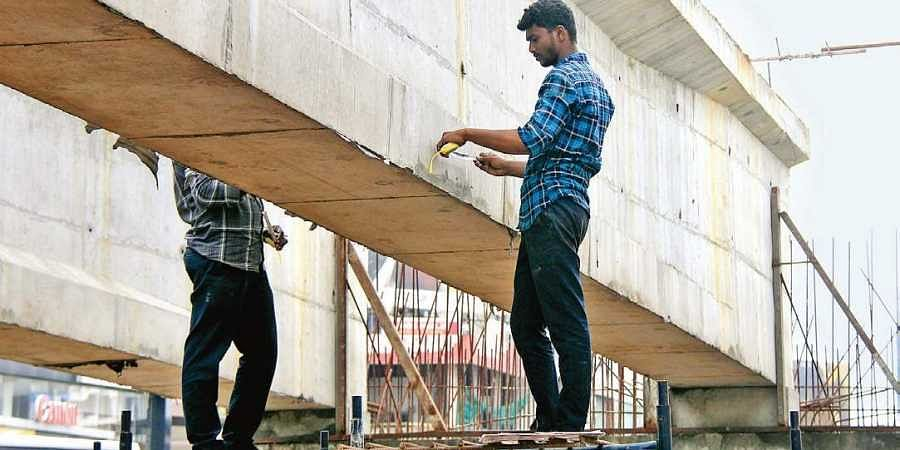IIT-Madras expert team members inspecting Vyttila flyover on Saturday
