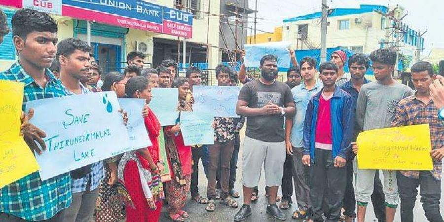 Students from a private college in the city helped in clearing 20 bags of garbage and plastic waste from Tiruneermalai lake last Sunday.