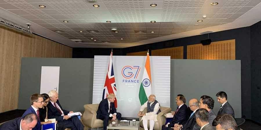 Prime Minister Narendra Modi and his British counterpart Boris Johnson meet for the G7 summit in France on 25th of August, 2019.
