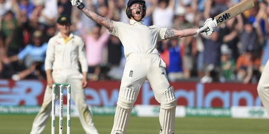 England's Ben Stokes celebrates winning on day four of the third Ashes cricket Test match against Australia at Headingley, Leeds. (Photo | AP)