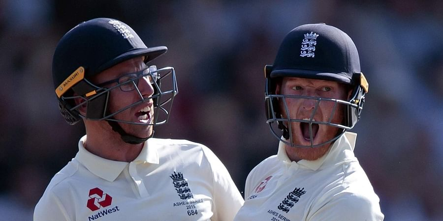 England's Ben Stokes, right, with Jack Leach celebrates after scoring the winning runs on the fourth day of the 3rd Ashes Test cricket match between England and Australia at Headingley cricket ground in Leeds. (Photo | AP)