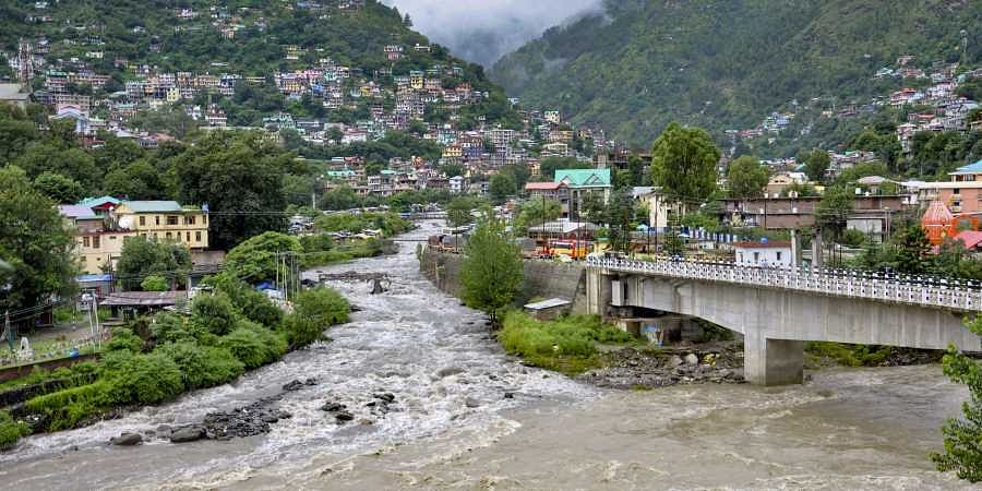 A view of the swollen Beas river following heavy monsoon rain in Kullu district Monday August 19 2019.