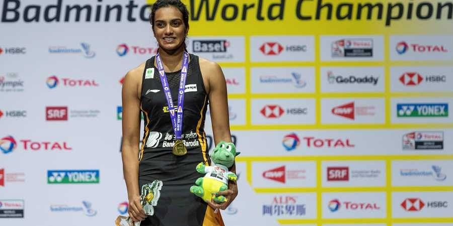 Gold-medallist PV Sindhu after winning her women's singles final match against Japan's Nozomi Okuhara at the BWF Badminton World Championships in the St. Jakobshalle in Basel.