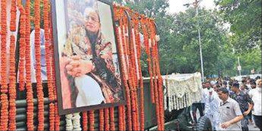 Arun Jaitley's body being taken from the BJP HQ for the last rites.
