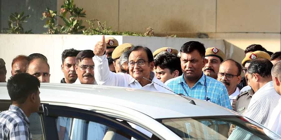Senior Congress leader and former Union minister P Chidambaram after being produced at a CBI court in the INX media case in New Delhi Monday August 26 2019