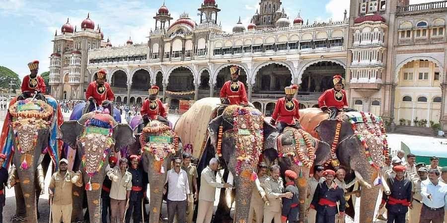 Arjuna, Abhimanyu, Eshwara, and other elephants in front of Mysuru Palace on Monday