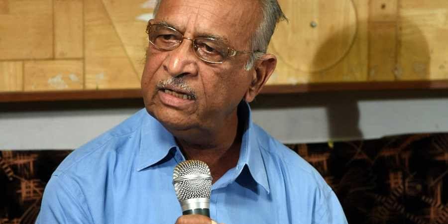 Former MLC AK Subbaiah at press conference in Bengaluru