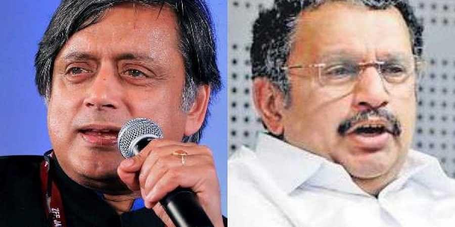 Shashi Tharoor (L) and Congress leader K Muraleedharan