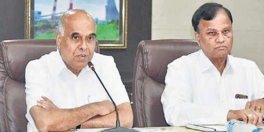 TS Transco and Genco CMD D Prabhakar Rao speaks during a press conference in Hyderabad on Friday.