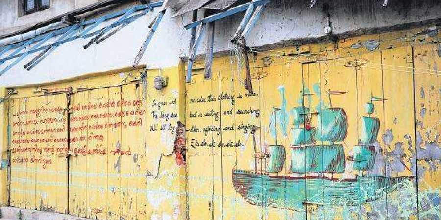 Calligraphy works on the walls of Jew Town at Mattancherry