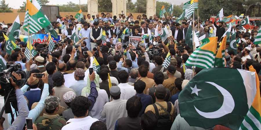 Pakistani protesters rally to express solidarity with Indian Kashmiris in Quetta, Pakistan