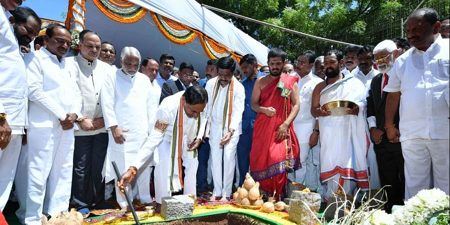 Chief Minister K Chandrasekhara Roa performing bhumi pooja for the construction of new Secretariat behind D block in Telangana secretariat.